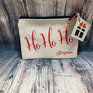 Brighton NWT Burlap Christmas Cosmetic Bag